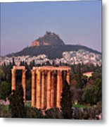 View Of The Temple Of Olympian Zeus And Mount Lycabettus In The  Metal Print