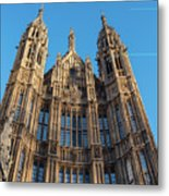 View Of The Top Detail Of The Parlament House In London Metal Print