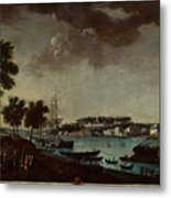 View Of The Town And Port Of Bayonne Metal Print