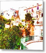 View Of The Village With Trees And Curve Metal Print
