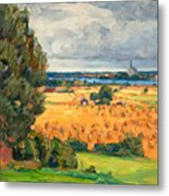 View Of Vadstena From The Surrounding Fields Metal Print
