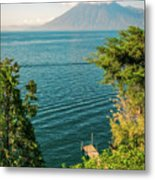 View Of Volcano San Pedro With A Crown Of Clouds In Guatemala Metal Print