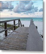 View Of White Sand And Blue Ocean From Wooden Boardwalk Metal Print