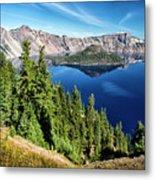 View Of Wizard Island Crater Lake Metal Print