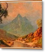 View On Blue Tip Mountain H A With Decorative Ornate Printed Frame. Metal Print