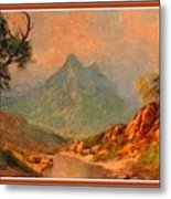 View On Blue Tip Mountain H B With Decorative Ornate Printed Frame. Metal Print