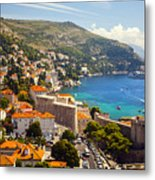 View Over Dubrovnik Coastline Metal Print