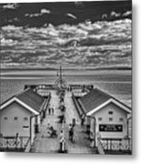 View Over The Pier Mono Metal Print