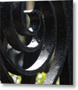 View Through The Iron Fence Metal Print