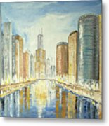 View Up The Chicago River Metal Print