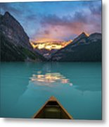 Viewing Snowy Mountain In Rising Sun From A Canoe Metal Print