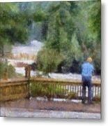 Viewing Tahquamenon Lower Falls Upper Peninsula Michigan Pa Metal Print