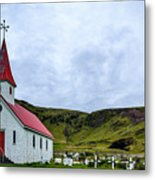 Vik Church And Cemetery - Iceland Metal Print