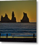 Vik Sea Stacks At Dusk - Iceland Metal Print