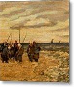 Viktor Ivanovich Zarubin Russian 1866  1928 Fisherwomen In Normandie Metal Print