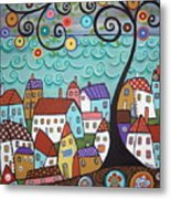 Village By The Sea Metal Print by Karla Gerard