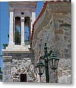 Village Church In Greece Metal Print