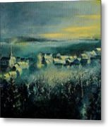 Village In A Misty Morning  Metal Print