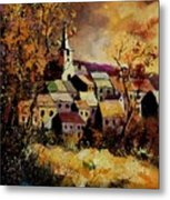 Village In Fall Metal Print