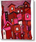 Village In Pink Metal Print
