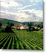 Village In The Vineyards Of France Metal Print