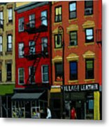 Village Leather - New York Cityscape Metal Print