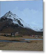 Village Of Arnastapi At The Base Of Mount Stapafell Metal Print