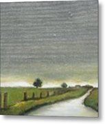 Village Road In The Twilight  Metal Print