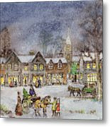 Village Street In The Snow Metal Print by Stanley Cooke