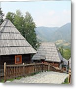 Village With Wooden Cabin Log On Mountain Metal Print