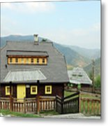 Village With Wooden Houses On Mountain Metal Print