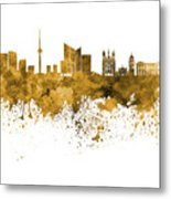 Vilnius Skyline In Orange Watercolor On  White Background Metal Print