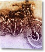 Vincent Black Shadow 2 - Standard Motorcycle - 1948 - Motorcycle Poster - Automotive Art Metal Print
