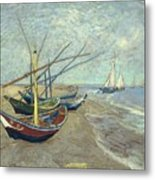 Vincent Van Gogh  Fishing Boats On The Beach At Les Saintes Maries De La Mer Metal Print