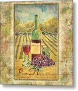 Vineyard Pinot Noir Grapes N Wine - Batik Style Metal Print