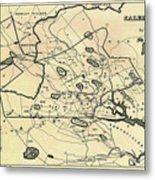 Vintage 1692 Map Of Salem Massachusetts - 1866 Metal Print