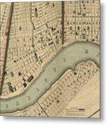Vintage 1840s Map Of New Orleans Metal Print