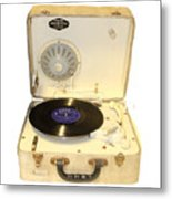 Vintage 1950s Record Player And Vinyl Record Metal Print