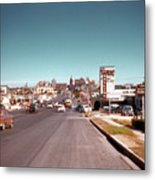 Vintage 1950s View Of Congress Avenue Looking North From South Congress To The Capitol Metal Print
