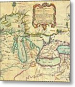 Vintage Antique Map Of The Great Lakes Metal Print