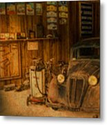 Vintage Auto Repair Garage With Truck And Signs Metal Print