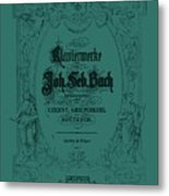 Vintage Bach Piano Book Cover Metal Print