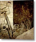 Vintage Bicycle In Winter. Metal Print