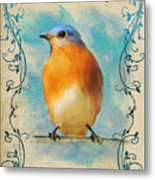 Vintage Bluebird With Flourishes Metal Print