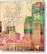 Vintage Boston Skyline Metal Print