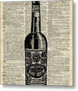 Vintage Bottle Of Rum Over Antique Book Page Metal Print