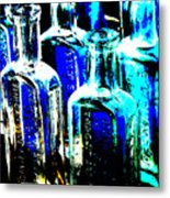 Vintage Bottles At A Flea Market Hard Metal Print