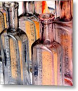 Vintage Bottles At A Flea Market Neg Metal Print