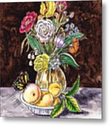 Vintage Bouquet With Fruits And Butterfly  Metal Print