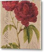 Vintage Burlap Floral 3 Metal Print